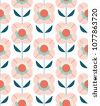 Stock vector seamless pattern with flowers in retro scandinavian style 1077863720