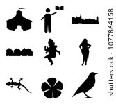 set of 9 simple editable icons...   Shutterstock .eps vector #1077864158