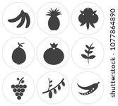 set of 9 simple editable icons... | Shutterstock .eps vector #1077864890