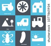 set of 9 simple editable icons... | Shutterstock .eps vector #1077865934