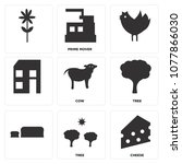 set of 9 simple editable icons... | Shutterstock .eps vector #1077866030