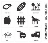 set of 9 simple editable icons... | Shutterstock .eps vector #1077866108