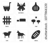 set of 9 simple editable icons... | Shutterstock .eps vector #1077866120