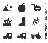 set of 9 simple editable icons... | Shutterstock .eps vector #1077866210