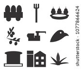 set of 9 simple editable icons... | Shutterstock .eps vector #1077866624