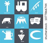set of 9 simple editable icons... | Shutterstock .eps vector #1077866744