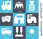 set of 9 simple editable icons... | Shutterstock .eps vector #1077866774
