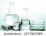 laboratory glass. macro image.... | Shutterstock . vector #1077867080