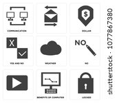 set of 9 simple editable icons... | Shutterstock .eps vector #1077867380