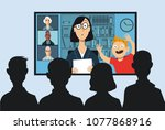 working mother attending a... | Shutterstock .eps vector #1077868916