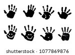 baby hand hands print child... | Shutterstock .eps vector #1077869876