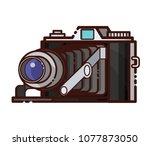 retro photo camera on white... | Shutterstock .eps vector #1077873050