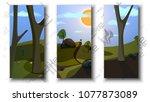 flat fantasy world vector... | Shutterstock .eps vector #1077873089