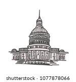 washington dc landmarks hand...   Shutterstock .eps vector #1077878066