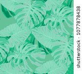 tropical pattern. seamless... | Shutterstock .eps vector #1077878438