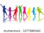 dancing children silhouettes. | Shutterstock .eps vector #1077880460