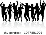 dancing people silhouettes.... | Shutterstock .eps vector #1077881006