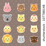 animal face stickers | Shutterstock .eps vector #107788148