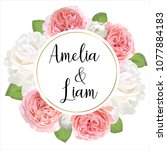 floral wedding invitation card... | Shutterstock .eps vector #1077884183