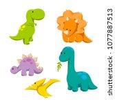 dinosaur icon set  ... | Shutterstock .eps vector #1077887513