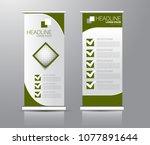 roll up stand design. vertical... | Shutterstock .eps vector #1077891644