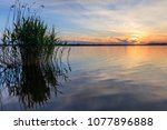 beautiful sunset in the danube... | Shutterstock . vector #1077896888