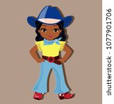 beautiful cowgirl  isolated on... | Shutterstock .eps vector #1077901706