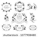 set of flourish frames and... | Shutterstock .eps vector #1077908480
