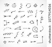 hand drawn arrows  vector set | Shutterstock .eps vector #1077914036