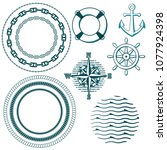 illustration of set of marine... | Shutterstock .eps vector #1077924398