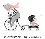 Stock vector cute bear with bicycle and little girl vector design animal illustration t shirt graphic 1077936629
