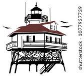 lighthouse drawing vector... | Shutterstock .eps vector #1077937739