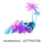 abstract painted splash shape...   Shutterstock . vector #1077942758