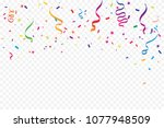 many falling colorful tiny... | Shutterstock .eps vector #1077948509