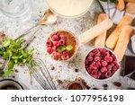 cooking italian food dessert... | Shutterstock . vector #1077956198