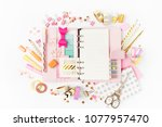 planner mockup and stationary.... | Shutterstock . vector #1077957470