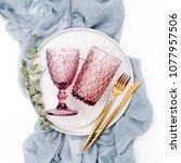wedding or festive table... | Shutterstock . vector #1077957506