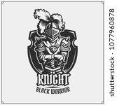 medieval warrior knight in... | Shutterstock .eps vector #1077960878