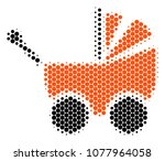 halftone dot baby carriage icon.... | Shutterstock .eps vector #1077964058