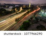 aerial night view of traffic on ... | Shutterstock . vector #1077966290