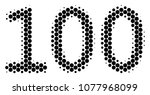 halftone circle 100 text icon.... | Shutterstock .eps vector #1077968099