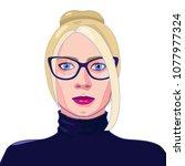 full face portrait of the blond ... | Shutterstock .eps vector #1077977324