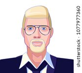 full face portrait of a blond... | Shutterstock .eps vector #1077977360