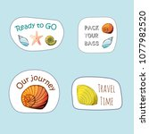 stickers set with shells in... | Shutterstock .eps vector #1077982520
