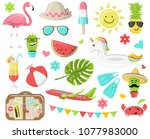 summer icons symbols vector set | Shutterstock .eps vector #1077983000