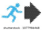 halftone circle exit direction... | Shutterstock .eps vector #1077986468