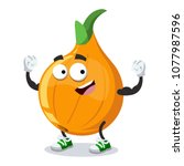 cartoon onion mascot shows its...