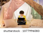 childhood  technology and hygge ... | Shutterstock . vector #1077996083