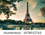 eiffel tower in paris. vintage... | Shutterstock . vector #1078012763