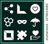 set of 9 shapes filled icons... | Shutterstock .eps vector #1078014083